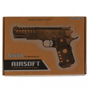 297120   Пистолет (п) металл., съемный магазин, с пульками M688 в кор. в кор.36шт