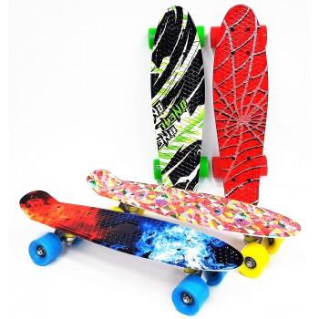 Скейтборд c принтом, цветные колеса без подсветки