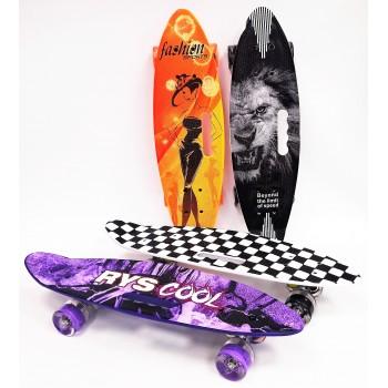 Скейтборд с ручкой, колеса с подсветкой