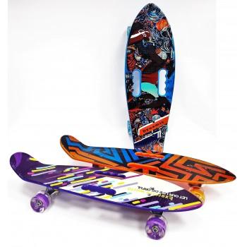 Скейтборд с 2 ручками, колеса с подсветкой