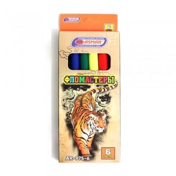 Фломастеры 6 цветов в картонной упаковке Тигр Asmar AR-975-6-1