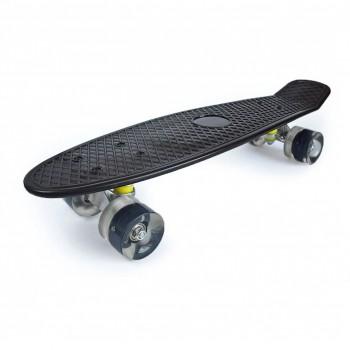 Пенниборд черный, колеса с подсветкой, дека 55 см