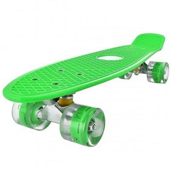 Пенниборд зеленый, колеса с подсветкой, дека 55 см
