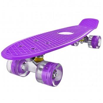 Пенниборд фиолетовый, колеса с подсветкой, дека 55 см