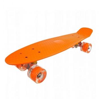 Пенниборд оранжевый, колеса с подсветкой, дека 55 см