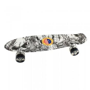 Пенниборд скейтборд с принтом, черно-белый, колеса с подсветкой