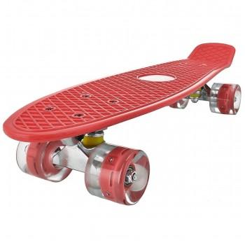 Пенниборд красный, колеса с подсветкой, дека 55 см
