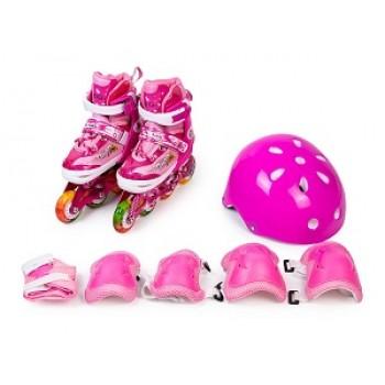 Набор роликовый (ролики раздвижные со светящимися колесами, шлем, набор защиты) в сумке (размеры: 28