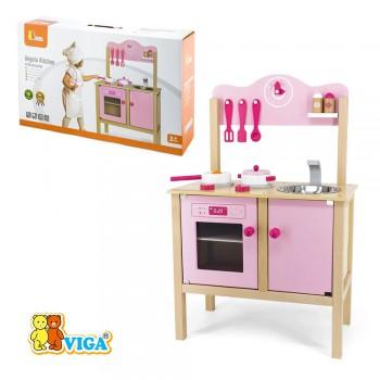 Игровой набор Детская кухня Angela розовая с аксессуарами (дерево) Viga 50157