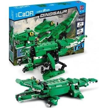 Конструктор CaDa 2в1 Крокодил и Динозавр с двигателем 450 дет. C51035W