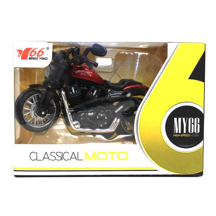 Мотоцикл Die-cast классик 12см. (свет, звук)