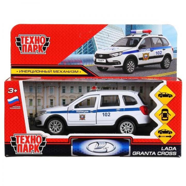 """299797   Машина металл """"lada granta cross 2019 полиция"""" 12см, инерц., белый в кор. Технопарк в кор.2"""