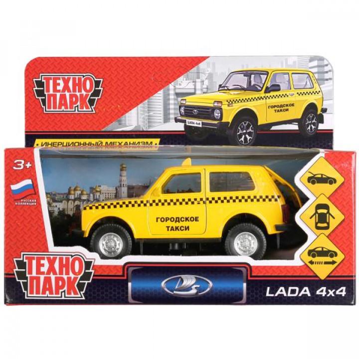 "267182   ТМ Технопарк. Машина металл ""LADA 4x4 ТАКСИ"" 12см, открыв. двери, инерц. в кор. в кор.2*36ш"