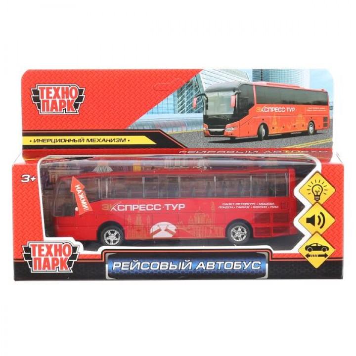 """Модель металл свет-звук """"рейсовый автобус"""", длина 16см, инерц. в русс. кор. Технопарк в кор"""
