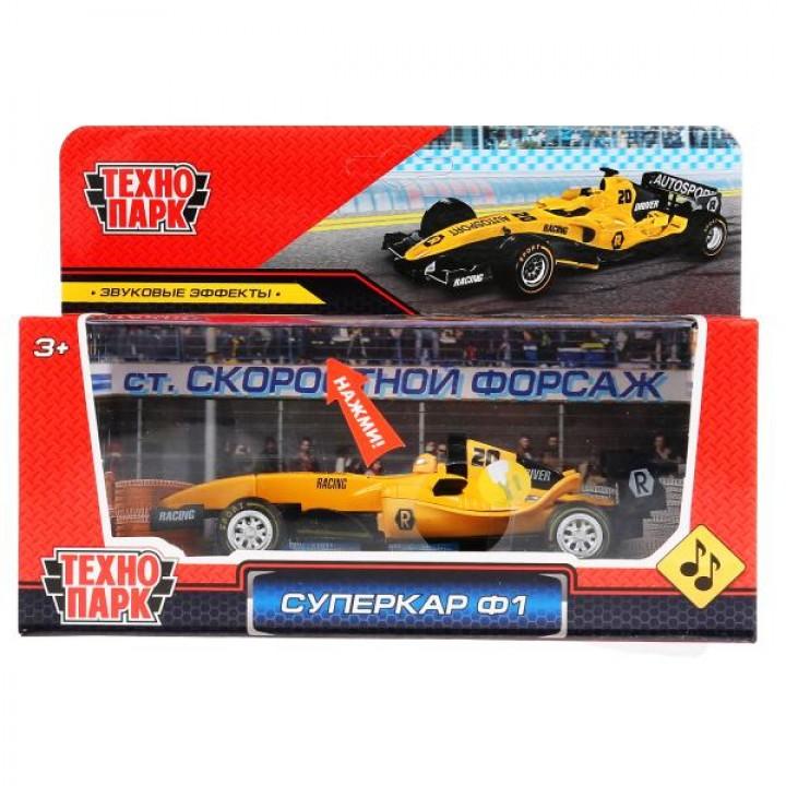 "Машина металл ""Суперкар Ф-1"", длина 14см, звук, желтый, в русс. кор. Технопарк в кор.2*36шт"