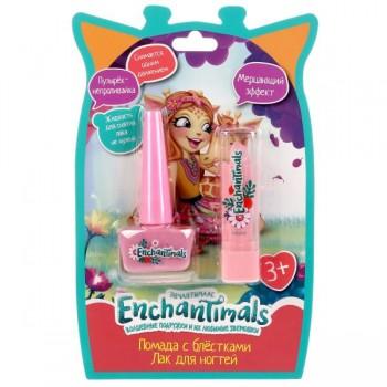 """Косметика для девочек """"Энчантималс"""" розовые лак для ногтей, помада для губ Милая Леди NPP-213+LSG-P"""