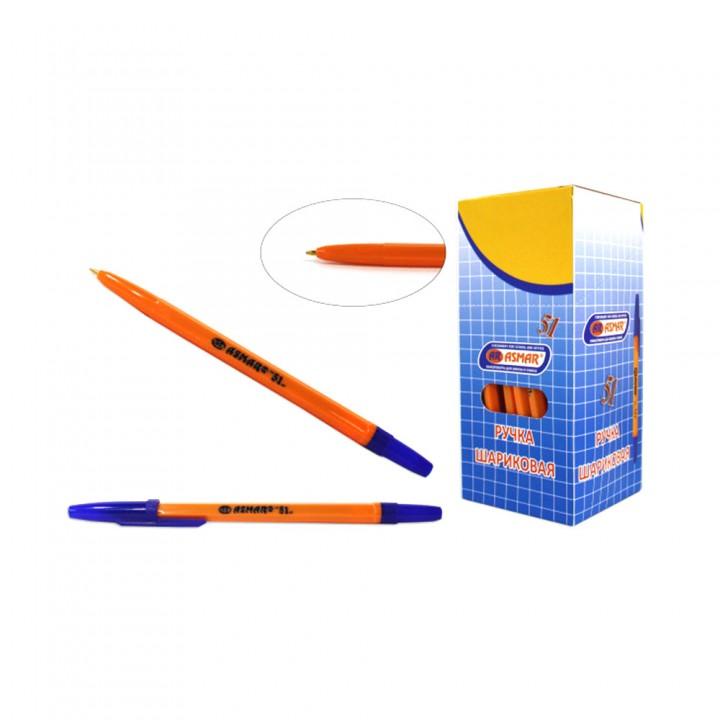 Ручка шариковая синяя, оранжевый корпус Asmar AR-51