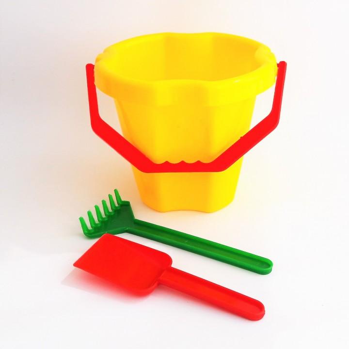 Набор для песочницы №2 (ведро, лопатка, грабли)