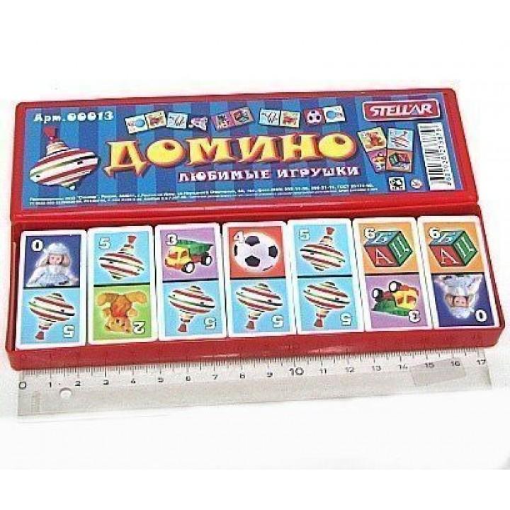 Домино Любимые игрушки в пластиковой коробке