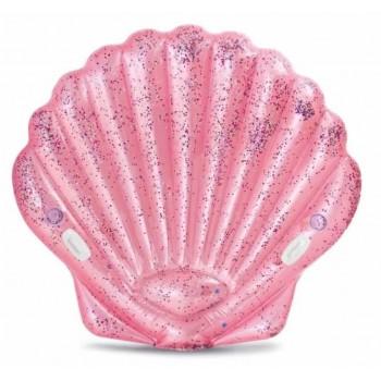 Плот надувной розовая ракушка (2 лунки) 178х165х24см