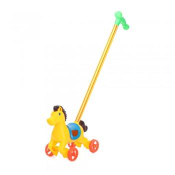 Каталка-лошадка жёлтая на палке с ручкой 303-1y