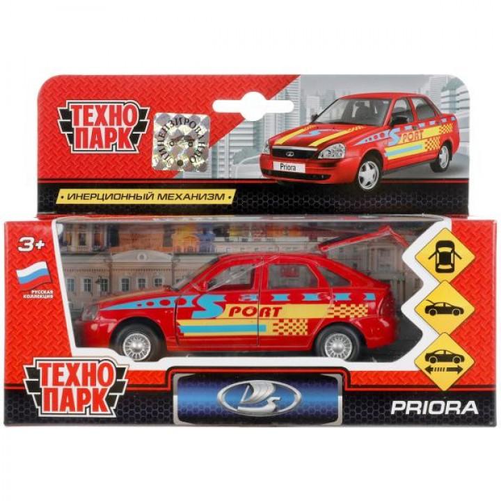 Машина металл LADA Priora хэтчбек спорт 12см, открыв. двери, инерц. в кор. Технопарк в кор.
