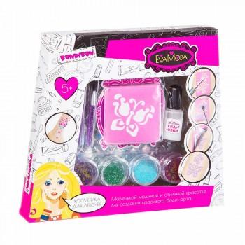 Набор детской декоративной косметики для боди-арта с глиттером для тела Bondibon Eva Moda ВВ2814