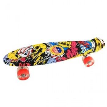 Пенниборд скейтборд с принтом, желтый граффити, колеса с подсветкой