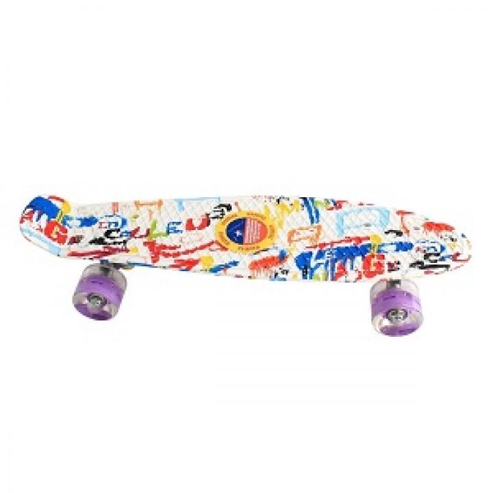 Пенниборд скейтборд с принтом, белый разноцветный, колеса с подсветкой
