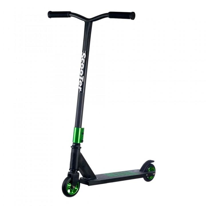 Самокат трюковой Scooter wave черно-зеленый F10-1
