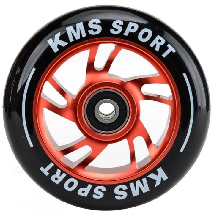 Колесо для трюк. самоката KMS Sport 110мм. красн. алюм. с подшипниками спиральная звезда