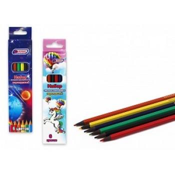 Набор шестигранных цветных пластиковых карандашей 6 цв Asmar