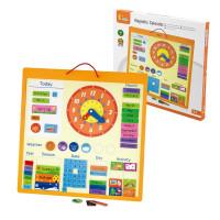 Игровой модуль Магнитный календарь с часами (75 деталей) дерево Viga 50377