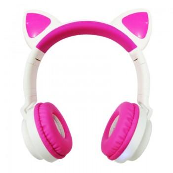 Наушники с ушками Cat ear бело/розовые