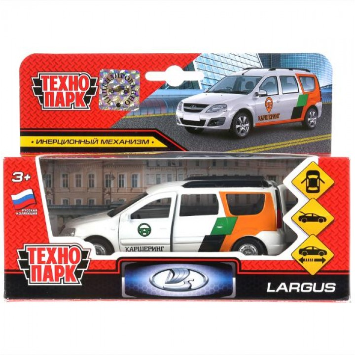 Машина металл LADA largus каршеринг 12см, откр.двери, багажник, инерц. в кор. Технопарк в кор.2*24шт