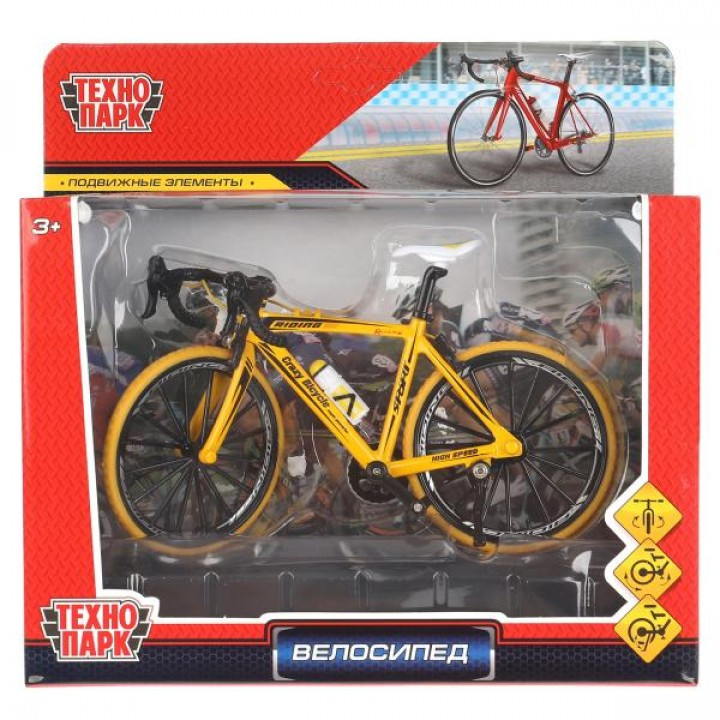 Модель металл велосипед, длина 17см в русс. кор. Технопарк