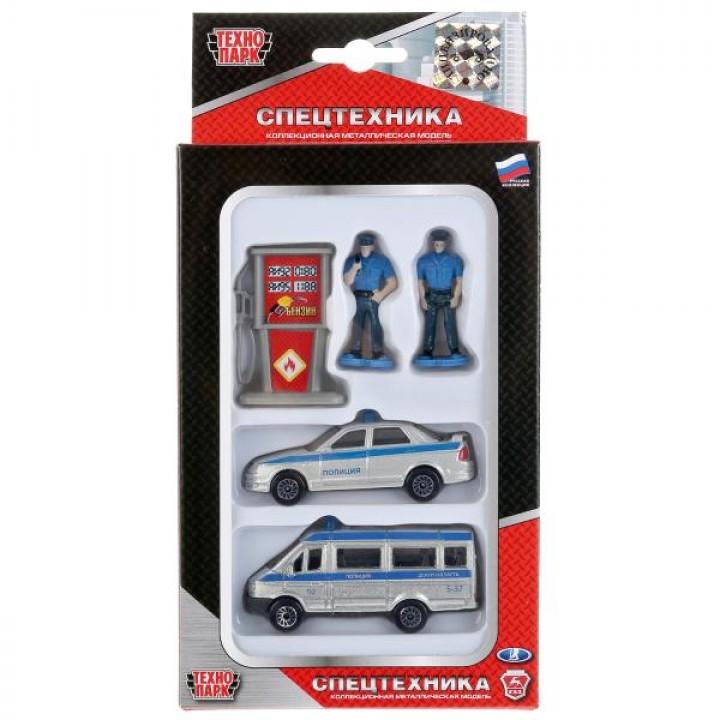 """Набор машин """"Полиция"""" с фигурками и аксессуарами Технопарк металл."""