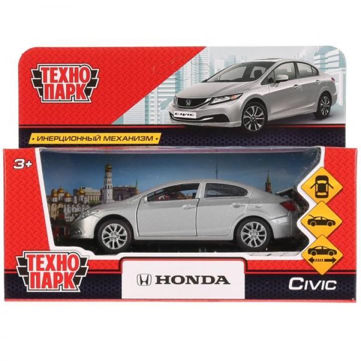 """Машина металл """"HONDA CIVIC"""" 12см, открыв. двери, инерц, серебристый, в кор. Технопарк в кор"""
