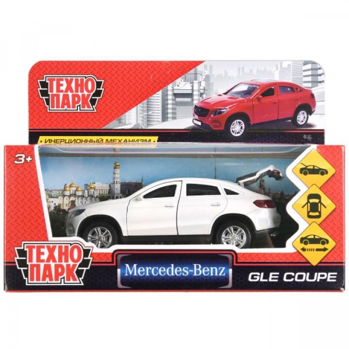 """Машина металл """"MERCEDES-BENZ GLE COUPE"""" 12см, Технопарк открыв. двери, инерц, БЕЛЫЙ в к"""