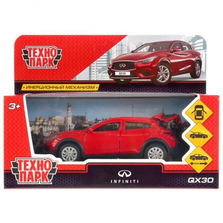 """Машина металл """"INFINITI QX30"""", длина 12см, откр. двери, инерц, красный в кор. Технопарк в к"""