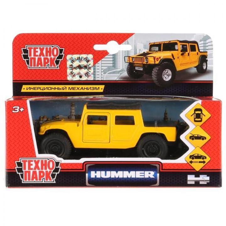 Машина металл Hummer H1 пикап желтый 12см, открыв. двери, инерц. в кор. Технопарк в кор.2*2