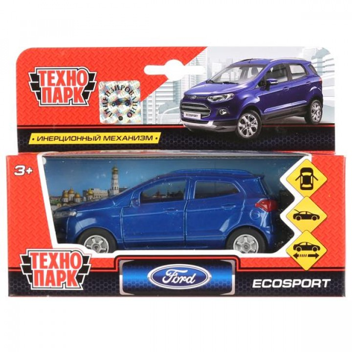 Машина металл FORD Ecosport синий 12см, открыв. двери, инерц. в кор. Технопарк в кор.2*24шт