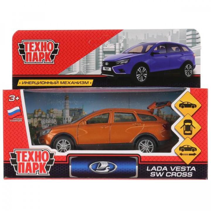 Машина металл LADA VESTA SW CROSS 12см, открыв. двери, инерц, золотой. в кор. Технопарк в к