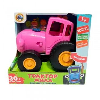 Муз. игрушка-каталка розовый трактор Мила (м/ф Синий трактор) 30 песен и фраз, свет Умка HT1120-R