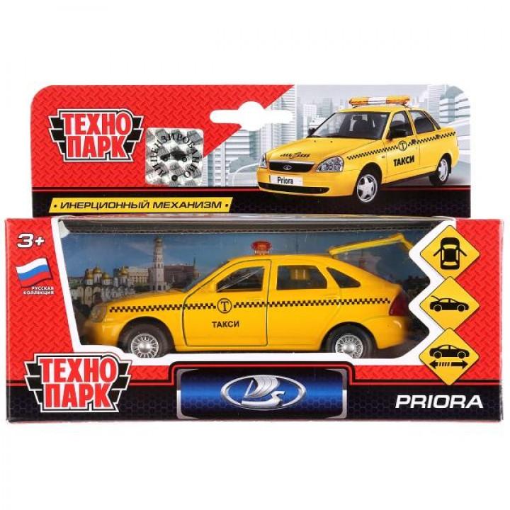 Машина металл LADA Priora хэтчбек такси 12см, открыв. двери, инерц. в кор. Технопарк в кор.2*24шт