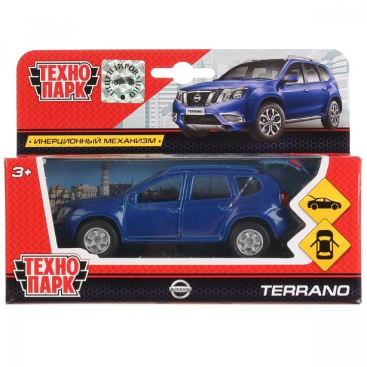 274792   Машина металл Nissan Terrano синий 12см, откр. двери и багажник, инерц. в кор.Технопарк в к