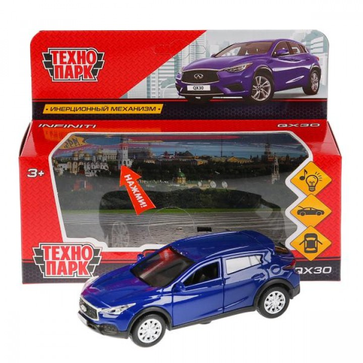"Машина металл свет-звук ""INFINITI QX30"" 12см, откр. двери, инерц, синий в кор Технопарк в к"