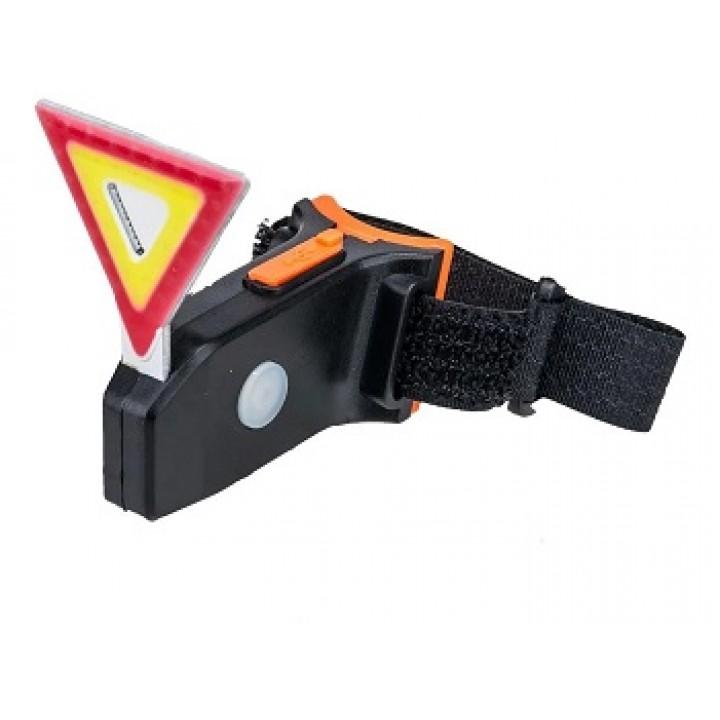 Стоп-сигнал красный треуг. LED BICYCLE аккум+USB
