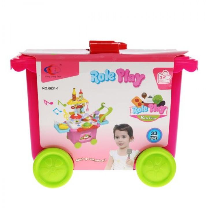 Игровой набор Кухня в чемодане на колесах на бат.