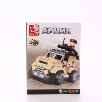 Конструктор Армия военный джип с фигуркой 102 дет. Sluban